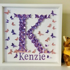 Personalised Alphabet & name in Butterflies nursery letter wall art.