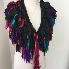 Black boho silk scarf, handknit, recycled sari silk scarf, collar