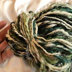 Handspun yarn Australian merino silk yarn in mixed shades of green black white a