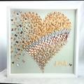 Wedding Gift Gold heart in 3d  butterflies