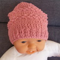 Baby girl's beanie with chiffon flower; fits 6 - 12 mths; 10-ply cotton