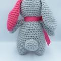 Stuffed toy Bunny - Soft toy animal - handmade gift grey pink bow