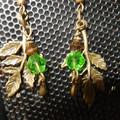 Nature, Tree, green leaf, deep green bicone  bronze tone dangling earrings