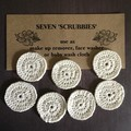 Seven Cream Scrubbies Crocheted with Bamboo/Cotton Mix
