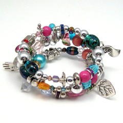 Bright Coloured Multi Wrap Memory Wire Bracelet