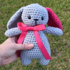 Stuffed toy Bunny - Soft toy animal - handmade gift grey pink bow