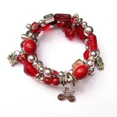 Red Memory Wire Charm Bracelet
