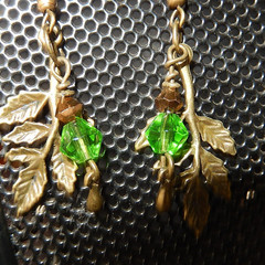 Nature, Tree, green leaf, deep green bicone  bronze tone dangling earrings