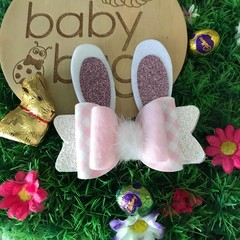 """Pink gingham Bunny Glitter Hair Bow Pink clip 4"""" Easter Fluffy Pom Pom"""