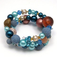 Memory Wire Bracelet made from Repurposed Vintage and New Beads