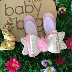 "Pink White Bunny Glitter Hair Bow clip 4"" Easter Fluffy Pom Pom"