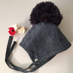 BONNET made with UPCYCLED and VINTAGE fabric with HUGE pompom HAT