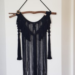Stachi - large black macramé wall hanging