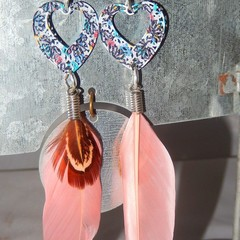 Hearts and feathers, psychedelic colored hearts, pink feathers dangling earrings