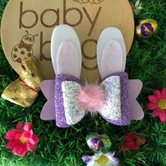 "Purple Glitter Bunny Hair Bow Pink metallic leather 4"" Easter pink Pom Pom"