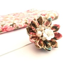 Pink Lapel Pin, Fabric Flower Brooch for Men and Woman, Wedding Boutonnière