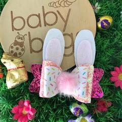 "Sprinkles Pastel Bunny Glitter Hair Bow Pink clip 4"" Easter Fluffy Pom Pom"