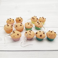 Miniature Food Chocolate Choc Chip Muffin Cupcake Earrings Novelty Jewellery Han
