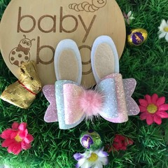 "Pastel Bunny Glitter Hair Bow Pink white 4"" Easter Fluffy Pom Pom"
