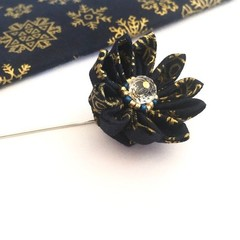 Dark Blue and Gold Lapel Pin, Fabric Flower Brooch Pin for Men or Woman
