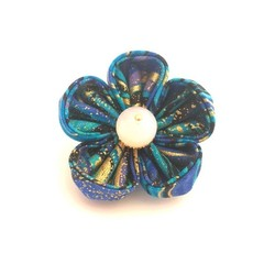 Blue and Gold Brooch, Handmade Fabric Flower Lapel Pin, Special Occasion Brooch