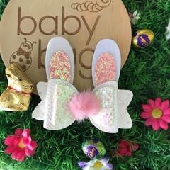 """White Bunny Glitter Hair Bow clip 4"""" Easter Fluffy Pom Pom"""