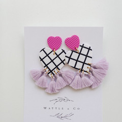 Statement Drop Earring 'hearts + stripes'