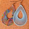 Teardrop psychedelic lightweight multi coloured dangling earrings stainless stee