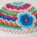 Crocheted cotton girl's hats 3-6 months