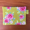 Coin Purse - Pink Roses on Green