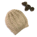 Ladies or Man's Slouchy Hand knitted Wool Beanie in Neutral Tones.