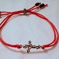 Waxed cotton charm bracelet