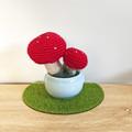 Crochet Toadstool in Ceramic Pot, Potted Amigurumi Mushroom