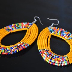 Mustard & Multi Color Beaded Earrings|Earrings  for Women | Eunique Gift For Her