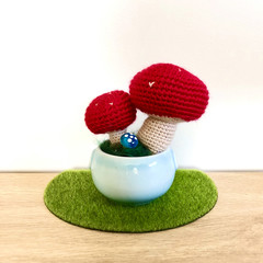Crochet Toadstool in Ceramic Pot, Potted Amigurumi Mushroom