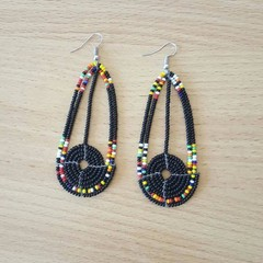 Black & Multi Color Beaded Earrings| Earrings  for Women | Eunique Gift For Her