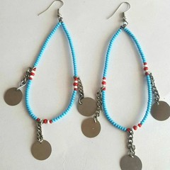 Blue, Maroon & White Beaded Earrings|Earrings  for Women | Eunique Gift For Her