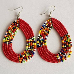 Maroon & Multi Color Beaded Earrings|Earrings  for Women | Eunique Gift For Her
