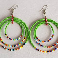 Green & Multi Color Beaded Earrings|Earrings  for Women | Eunique Gift For Her