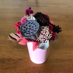 Crimson Posy - Mini arrangement boho style - Forever lasting - 16x13cm - Dried