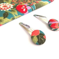 Fabric Button Hair Clip - Forest Green and Coral, Fabric Snap Clips for Girls