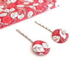 Red Fabric Bobby Pins for Girls, Fabric Button Hair Slider, Hair Clips for Women