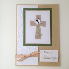 Easter Blessings Card - Kraft, Cross