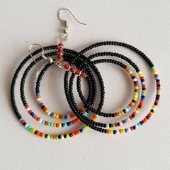 Black & Multi Color Beaded Earrings|Earrings  for Women | Eunique Gift For Her