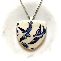 Blue Willow Swallows Pendant