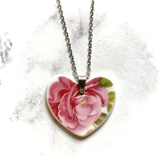 Pink Rose Heart Pendant