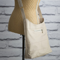 the Hobo Bag - upcycled leather jacket - cream
