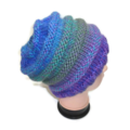Purple and Blue Chunky Hand Knitted Pure wool Beanie.