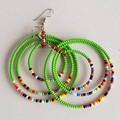 Green & Multi Color Beaded Earrings Earrings  for Women   Eunique Gift For Her