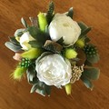 Forever Peonies - Mini Posy White & green - Silk & preserved flowers - 14x15cm